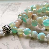 Aqua knot mala faceted 86 cm *